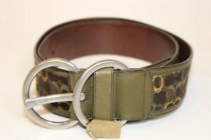 Coach Womens XL 38 39 40 Extra Large Signature Logo Jacquard & Leather Belt 3522