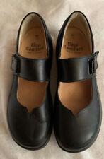 Finn Comfort Mary Jane Black Leather Adjustable Strap Women Size 7.5 W Wide