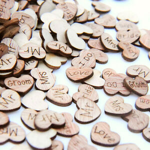 Wedding Table Decorations Rustic Small Wooden Love Hearts Wooden Table Confetti