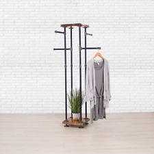 Industrial Pipe and Wood Shelf Clothes Rack 4-Way, Garment Rack, Clothing Rack