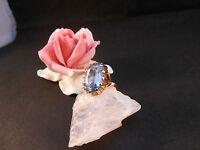Goldring Ring 14 k 585 Gelbgold  mit Blau Topas Gr 56 6,5 Gramm