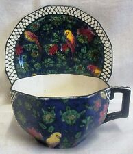 Art Nouveau Royal Doulton Persian Parrot Blue Chintz Cup & Saucer D4031
