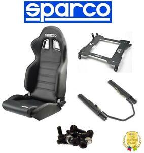 Sparco Black Vinyl Seat w/Base + Track Set + Mount Kit For 99-06 BMW 3 E46 Coupe