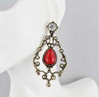 filigree dangle post earrings scroll cutout teardrop antiqued gold red