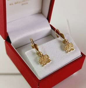 9ct Gold Solid Welsh Dragon Drop Earrings. Hinged Eurowires Fastening & Giftcase