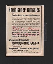 Bendorf, publicidad 1935, schwemmsteinfabrik Frankfurt/M. GmbH bimskies