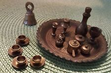 Vintage Miniature Brass Tray w/ 23 Mini pieces/Accessories