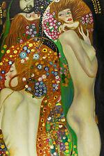 Water Serpents Detail by Gustav Klimt Huge 1.2m x 80cm Canvas Print Wall Art
