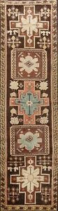 Vintage Tribal Geometric Ardebil Hand-knotted Runner Rug Staircase Oriental 3x10