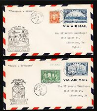 Canada 1st Flight 1934 Kawagama - Rouyn & BACK Air Mail TWO COVERS 3v