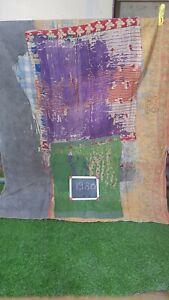 Reversible Handmade Vintage Cotton Kantha Quilt Twin Bedsheet Throw Blanket