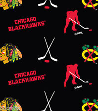 NHL HOCKEY CHICAGO BLACKHAWKS BLACK FLEECE FABRIC BLANKET MATERIAL BY 1/2 YARD