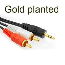 gold 3.5mm To 2 RCA Audio Y Adapter Cable//Lead For iPod Touch Nano Mini Classic
