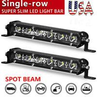 2X Slim 7Inch CREE LED Light Bar Single Row Spot Offroad Driving ATV UTV 4WD US