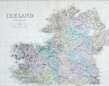 1883 LARGE MAP IRELAND TYRONE LONDONDERRY MEATH LONGFORD GALWAY SLIGO