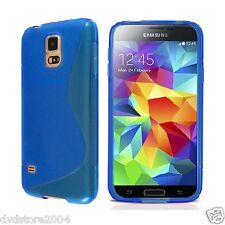 Custodia cover case gomma WAVE BLU per Samsung Galaxy S5 mini G800