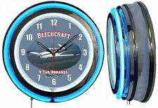 "Beechcraft Bonanza V Tail 19"" Double Neon Clock Airplane Aircraft Blue Neon"