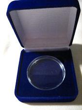 """BLUE VELVET Presentation /Gift Box for 1 1/2"""" CHALLENGE COIN"""