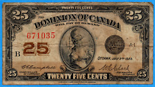 25 Cents 1923 Dominion of Canada Shinplaster Note DC-24d - Circulated
