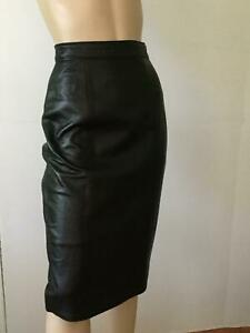 Firenze Black Sexy Leather Pencil Skirt (Size 6)