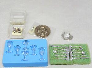 "Vintage ""Glass"" Goblets Flatware Plate Cruets Dollhouse Miniature 1:12"