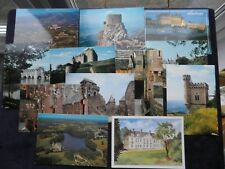 12 Postcards French Chateaux, Amboise, Veauce, Queribus, Tuchan, Dieppe, Saulty