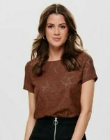 JDY Jacqueline de Young TAG Shirt rost SPITZE Muster Oberteil Bluse S 36 oNlY