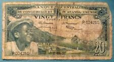 BELGIAN CONGO 20 FRANCS  NOTE , P 31, ISSUED 15.04. 1957