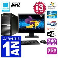 "PC Acer Veriton M4630G MT Ecran 19"" i3-4130 RAM 8Go SSD 240Go DVD Wifi W7"