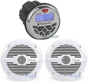 "Planet Audio PGR35B 3.5"" Gauge Marine Bluetooth Receiver+2) 6.5"" Marine Speakers"