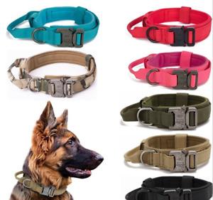 Tactical Dog Collar Heavy Duty Metal Buckle Military Nylon Soft Handle cotton