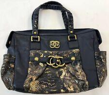 "15"" SHARIF Navy Genuine Leather Snakeskin Pattern Boho Satchel Handbag Purse"