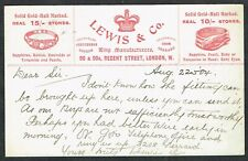 1906 Advertising Postcard LEWIS & Co Ring Manufacturers London EVII 1/2d