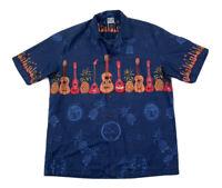 Island Wear Mens L Hawaiian Camp Shirt Button Up Short Sleeve Ukulele Blue USA