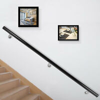 Handrail for Stairs Stair Handrail Stair Rails 7ft Length Black Wall-Mounted