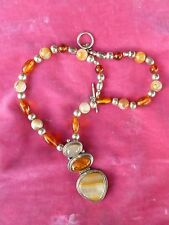 STERLING SILVER , AMBER AND AGATE DROP PENDANT NECKLACE