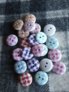 100 bulk small 15mm mixed check wooden sewing craft buttons 2 hole