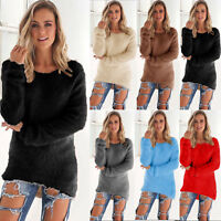 Women Winter Fluffy Loose Sweater Ladies Long Sleeve Casual Pullover Jumper Tops