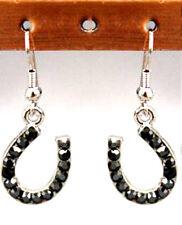Horse Shoe Rhinestone Silver Earrings Wire Lucky Marcasite