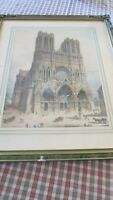 Rheims Cathedral Print Lge Framed Mat Antique Vintage Europe Gesso Frame Green