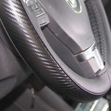 47026 Stitch Steering Wheel Cover Wrap Carbon Fiber Style Black Pvc Leather Car