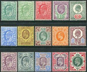1902-1910 Sg 215-Sg 259 De La Rue Lightly Mounted Condition Single Stamps