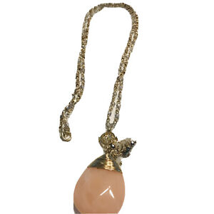 """Milky Pink Faceted Teardrop Pendant  34"""" Chain Necklace GOLDTONE K484"""