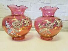 Vintage Rainbow Glass Co. 2 Set Cranberry Glass Vases w/ White Floral Dec.