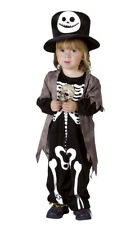 Boys Toddler Skeleton Costume Halloween Fancy Dress Outfit & Top Hat NEW AGE 3-4