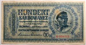 Banknote Occupied Ukraine 100 one hundred karbovanets 1942 4•004111