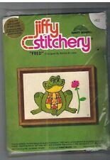 412 Vintage Jiffy Stitchery Fred Frog Crewel Embroidery Sunset Designs Klivans
