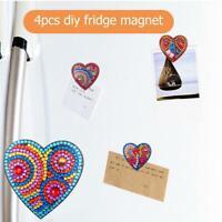 4pcs DIY Full Drill Special Shaped Heart Diamond Painting Fridge Magnet Gift