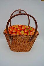 Korb Einkaufskorb Picknickkorb Tragekorb Strandkorb Weidenkorb Wachstuch orange