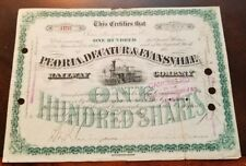 New listing 'Peoria, Decatur & Evansville Railway Company' 1890s Railroad Stock Certificate